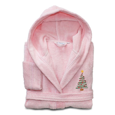 Linum Kids 100% Turkish Cotton Hooded  Terry Bathrobe - Christmas Tree