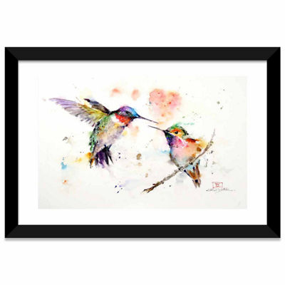 Humming Birds by Dean Crouser White Framed Fine Art Paper Print