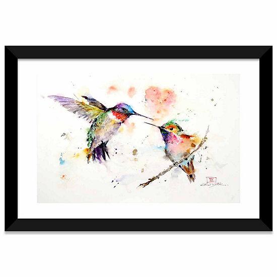 Humming Birds by Dean Crouser White Framed Fine Art Paper Print