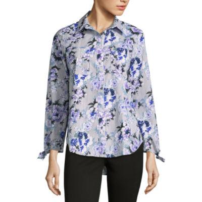 Liz Claiborne Tie Sleeve Floral Button-Front Shirt