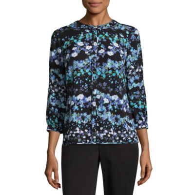 Liz Claiborne Piped Georgette Button-Front Blouse