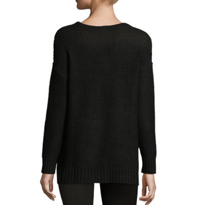 212 NY Long Sleeve V Neck Pullover Sweater