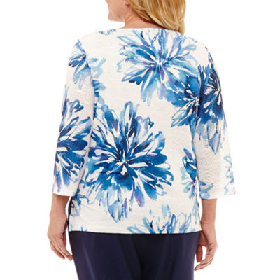 Alfred Dunner Out and About Asymmetrical Floral T-Shirt- Plus