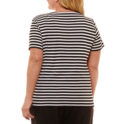 Alfred Dunner Out And About Spliced Stripe T-Shirt- Plus