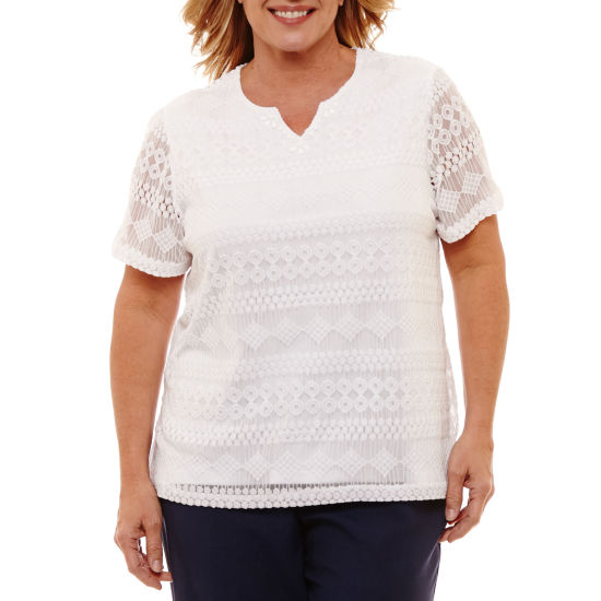 Alfred Dunner Solid Lace T-Shirt- Plus