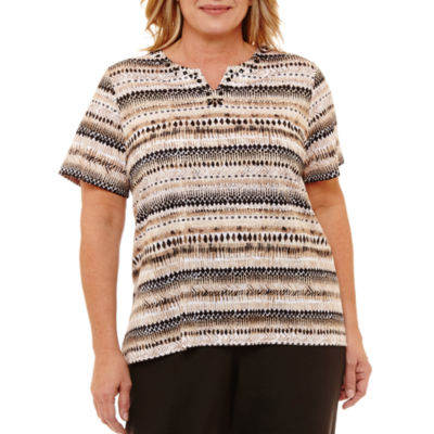 Alfred Dunner Out And About Texture Biadere T-Shirt- Plus
