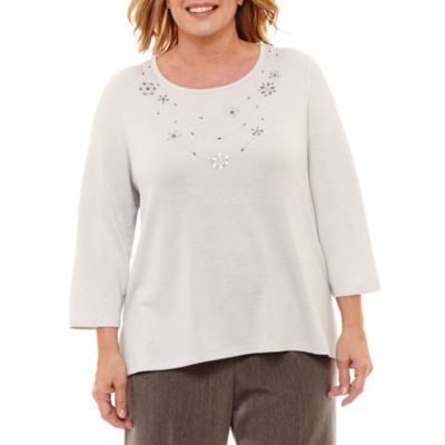 Alfred Dunner Lakeshore Drive Beaded Necklace Tee-Plus
