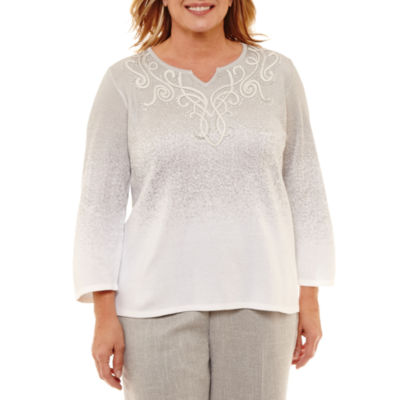 Alfred Dunner Lakeshore Drive Ombre Embroidered Sweater-Plus