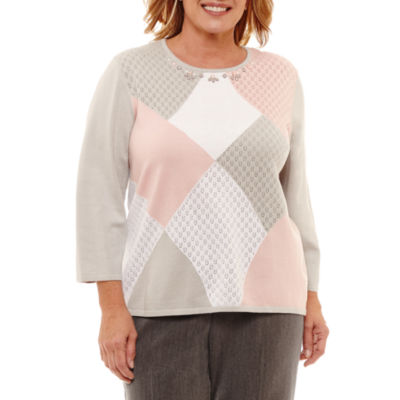 Alfred Dunner Lakeshore Drive 3/4 Sleeve Crew Neck Pullover Sweater-Plus