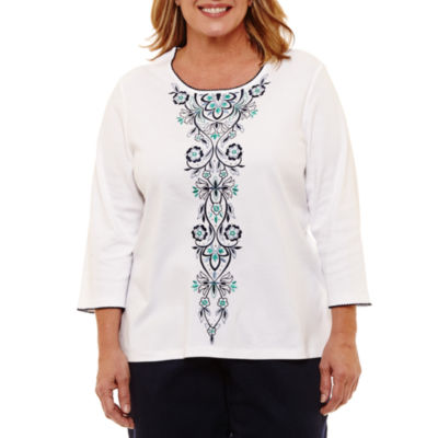 Alfred Dunner Montego Bay Embroidered Scroll T-Shirt- Plus