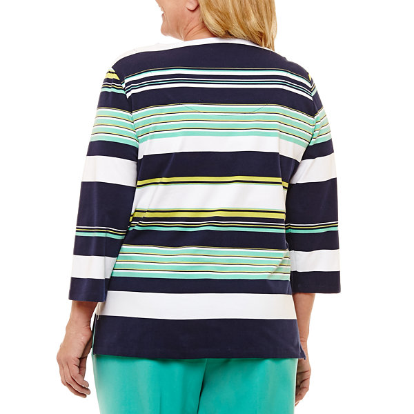 Alfred Dunner Montego Bay Spliced Stripe T-Shirt- Plus