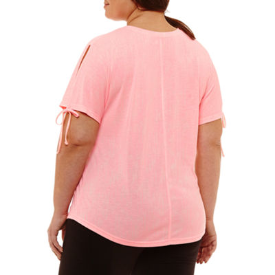 Xersion Short Sleeve Side Tie Tee - Plus