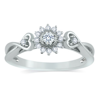 Promise My Love Womens 1/5 CT. T.W. Genuine Round White Diamond 10K Gold Promise Ring