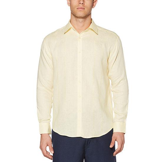 Cubavera Mens Long Sleeve Panel Button-Down Shirt