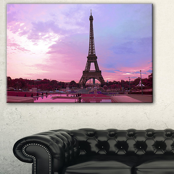 Designart Paris Eiffel Tower in Purple Tone Landscape Photography Canvas Print