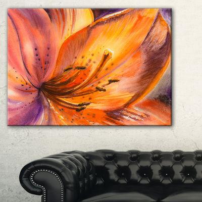 Design Art Orange Lily Flower Canvas Art Print