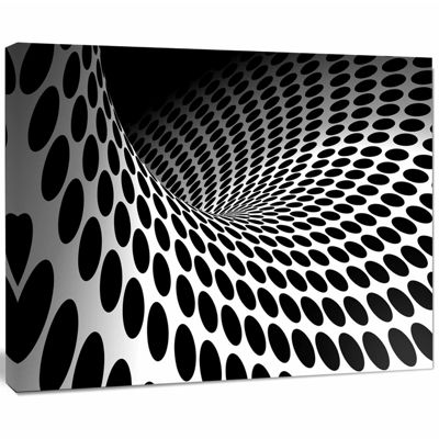 Designart Waves And Circles Black N' White Abstract Canvas Art Print