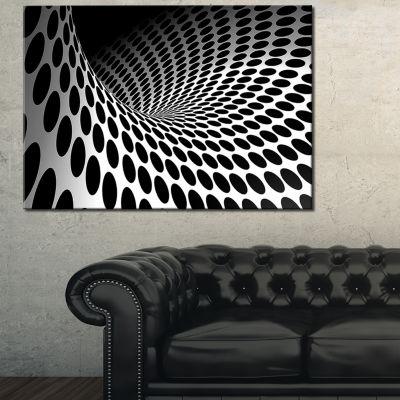 Design Art Waves And Circles Black N' White Abstract Canvas Art Print
