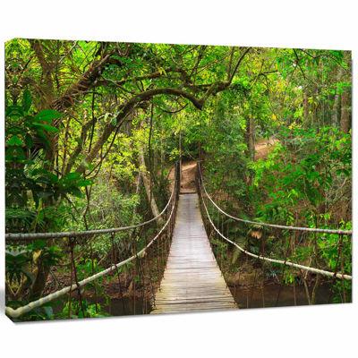 Designart Bridge To Jungle Thailand Landscape Photo Canvas Art Print