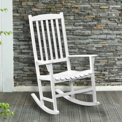 Southern Enterprises Hardwood Porch Rocker Patio Rocking Chair