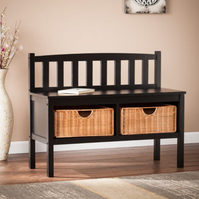 Southlake Furniture Bench with Rattan Baskets