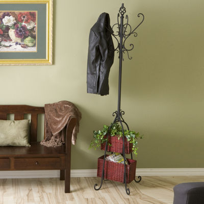 Home Décor Collections Hall Tree w/ Rattan Storage