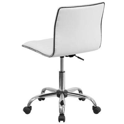 Low Back Designer Armless Ribbed Swivel Task Chair