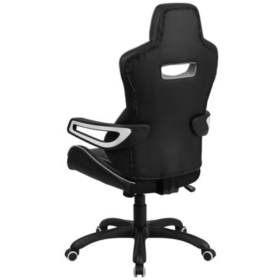 High Back Vinyl Executive Swivel Chair with WhiteTrim and Arms
