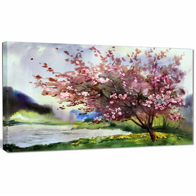 Design Art Tree With Spring Flowers Art Canvas Print
