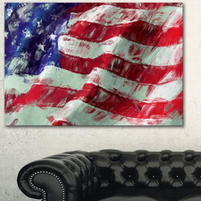 Design Art USA Flag Abstract Map & Flag Canvas Art Print