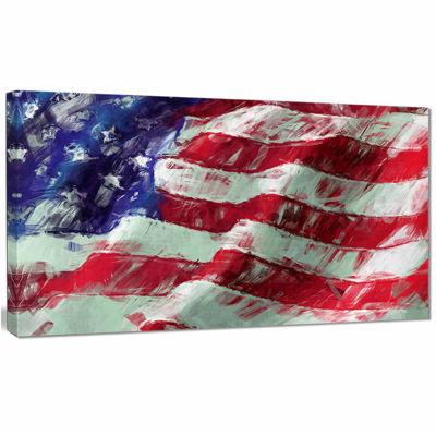 Designart USA Flag Abstract Map & Flag Canvas ArtPrint