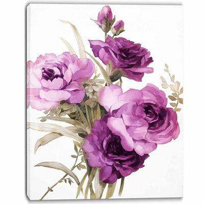 Designart Bunch Of Purple Flowers Art Canvas Print
