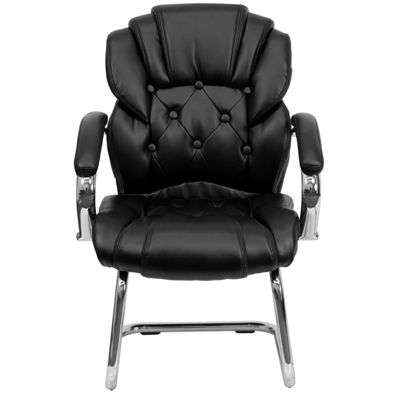Leather Transitional Side Chair with Padded Arms and Sled Base