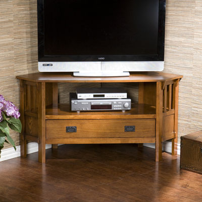 Southlake Furniture Oak Corner Media Stand