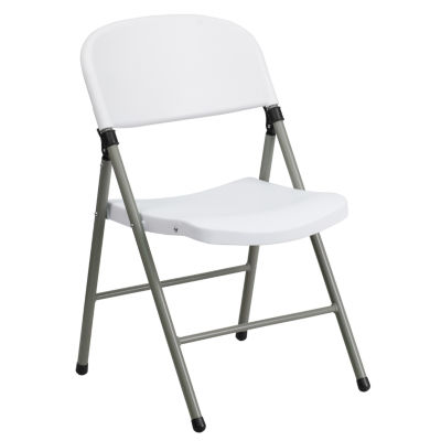HERCULES Series 330 lb. Capacity Plastic Folding Chair with Gray Frame
