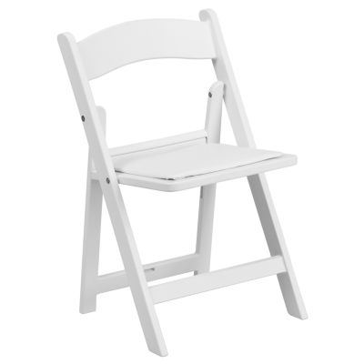 Kids White Resin Folding Chair with White Vinyl Padded Seat