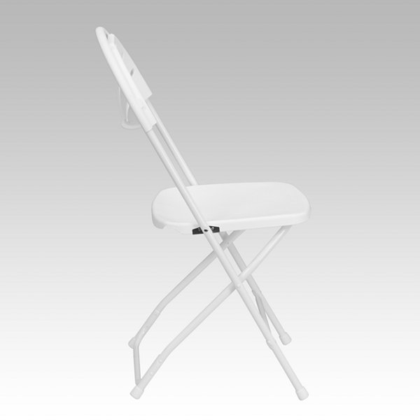 HERCULES Series 800 lb. Capacity White Plastic Fan Back Folding Chair
