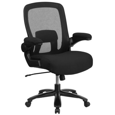 HERCULES Series Big & Tall 500 lb. Rated Black Mesh Executive Swivel Chair with Fabric Seat and Adjustable Lumbar