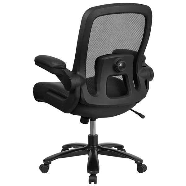 HERCULES Series Big & Tall 500 lb. Rated Black Mesh Executive Swivel Chair with Leather Seat and Adjustable Lumbar