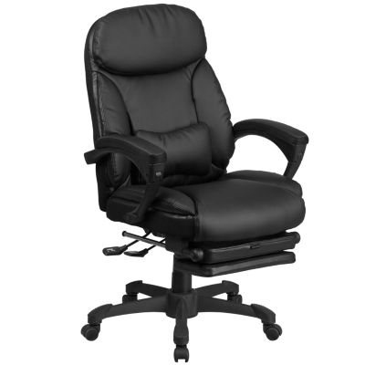 High Back Black Leather Executive Reclining SwivelChair with Comfort Coil Seat Springs and Arms