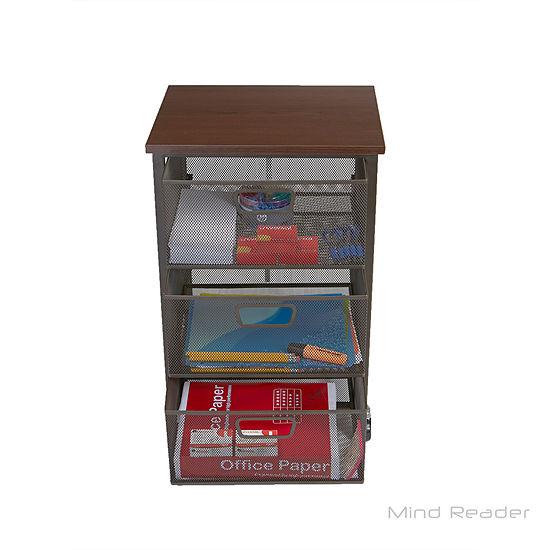 Mind Reader 3-Tier Metal Mesh Drawer Mobile Cart