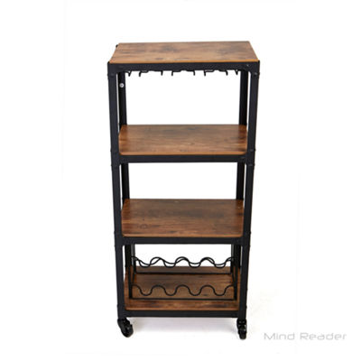 Mind Reader 4 Tier Wood And Metal Cart With Wine Rack 4winec Blk