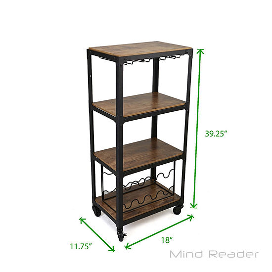 Mind Reader 4-Tier Wood and Metal Cart with Wine Rack
