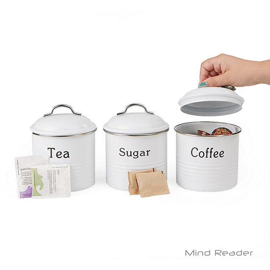 Mind Reader 3-Piece Coffee, Sugar, & Tea Metal Canister Set