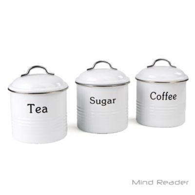Mind Reader 3-Piece Coffee, Sugar, & Tea Metal Canister Set
