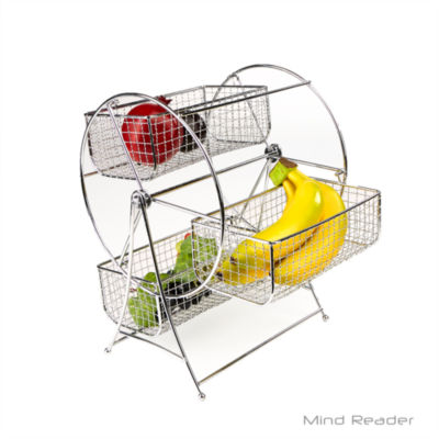 Mind Reader Revolving Triple Stainless Steel Fruit Basket, Silver