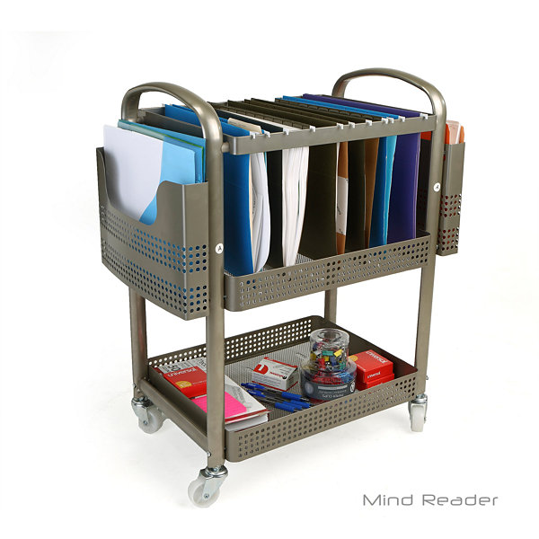 Mind Reader Heavy-Duty Metal Mobile File Cart, Silver