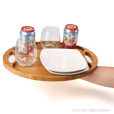 Mind Reader Bamboo Round Serving Tray, Brown