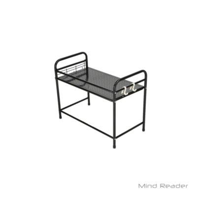 Mind Reader Microwave Shelf Counter Unit with Hooks, Black