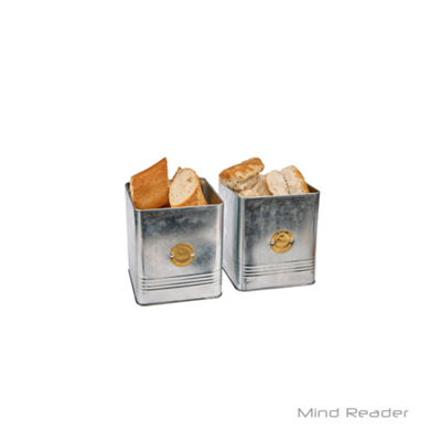 Mind Reader Bread and Biscuit Galvanized Steel Canister Set, Silver